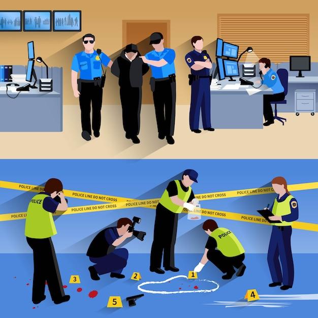 Spandoeken composities van politieagent mensen op kantoor en criminelen die buiten werken Gratis Vector