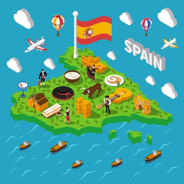 Spanje isometrische kaart illustratie Gratis Vector