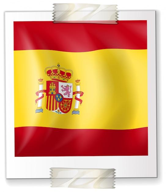 Spanje vlag op vierkant papier Gratis Vector