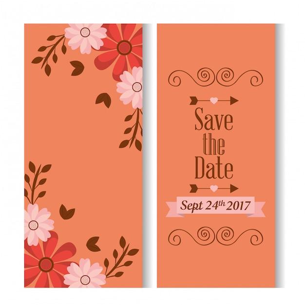 Sparen de datum romantische banners met bloemendecoratie Gratis Vector