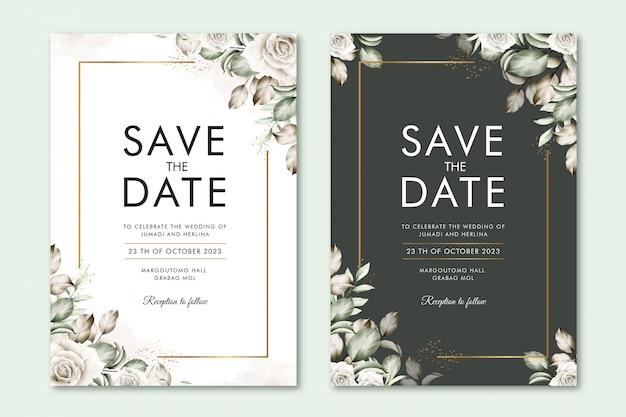 Sparen de datumkaart met bloemenwaterverf Premium Vector