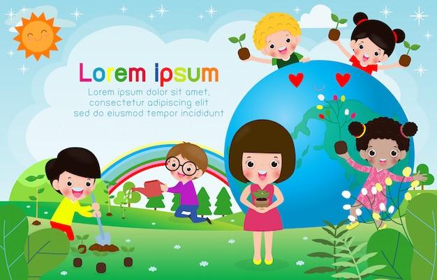 Sparen de wereld, wereldozondag, kinderen houden van de aarde en zorgen voor het milieu, sparen de planeet, ecologieconcept vectorillustratie Premium Vector