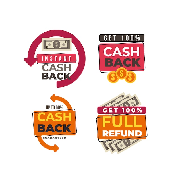 Sparen en geld terugbetaling pictogrammen labels Gratis Vector