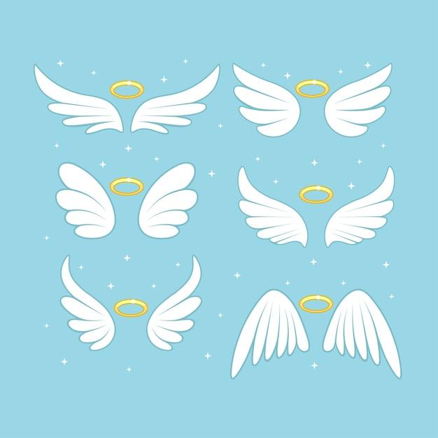 Sparkle engel fee vleugels met gouden nimbus, halo geïsoleerd op de achtergrond. Premium Vector