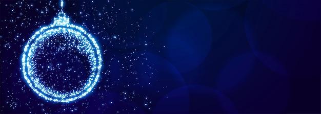 Sparkle kerstbal voor xmas festival banner Gratis Vector