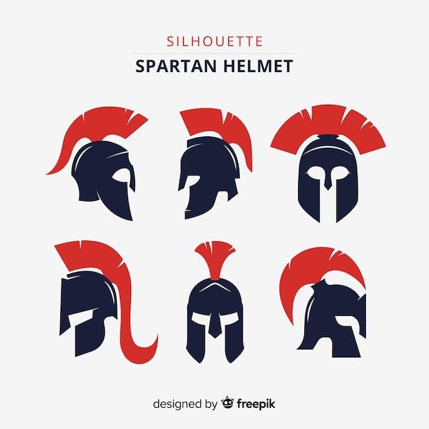 Spartaanse helmcollectie Gratis Vector