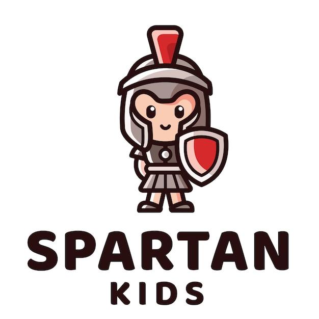 Spartan kids logo sjabloon Premium Vector