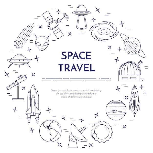 Spatie van de ruimtevaartlijn. reeks elementen van planeten, ruimteschepen, ufo, satelliet, kijker en andere kosmospictogrammen. concept voor website, kaart, infographic, adverteren. vector illustratie Premium Vector