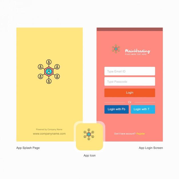 Spatscherm van bedrijfsnetwerk en aanmeldingspagina met logo Gratis Vector
