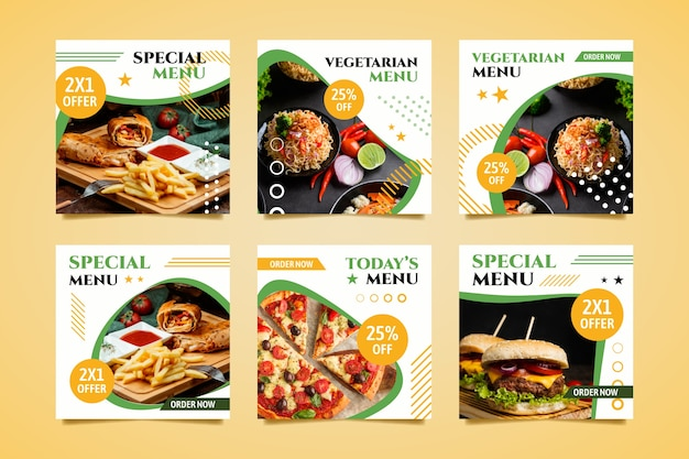 Speciaal menu online postverzameling Gratis Vector