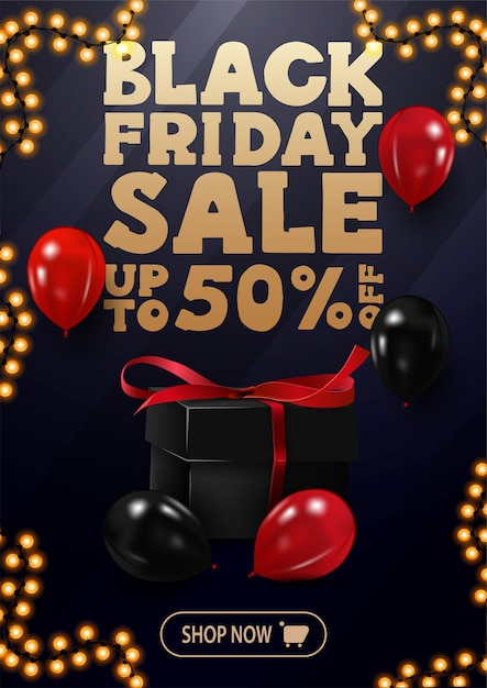 Speciale aanbieding, black friday-uitverkoop, tot 50% korting, verticale blauwe kortingsbanner met grote gouden aanbieding, rode en zwarte ballonnen, knop en slingerframe Premium Vector