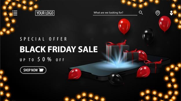 Speciale aanbieding, black friday-uitverkoop, tot 50% korting, zwarte kortingsbanner voor website met smartphone, rode en zwarte ballonnen en geschenkdozen Premium Vector