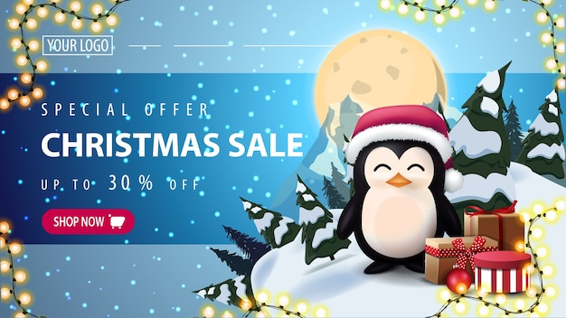 Speciale aanbieding, kerstuitverkoop, horizontale korting webbanner met sterrenhemel, volle maan, berg en pinguïn in kerstmuts met cadeautjes Premium Vector