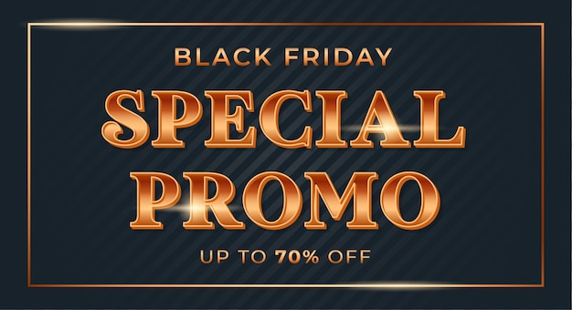 Speciale aanbieding met glanzend gouden verlooplettertype voor black friday-uitverkoopbanner Premium Vector