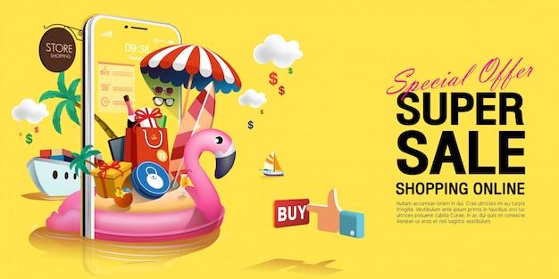 Speciale aanbieding super zomer verkoop in geel concept op mobiele telefoon Premium Vector