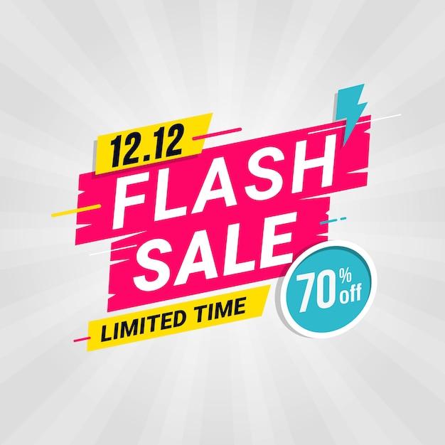 Speciale aanbieding van flash-verkoopbannermalplaatje met onweer Premium Vector