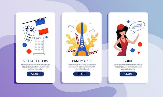 Speciale aanbieding voor reizen door frankrijk webpagina set Premium Vector