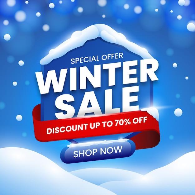 Speciale aanbieding voor winteruitverkoop in plat ontwerp Gratis Vector