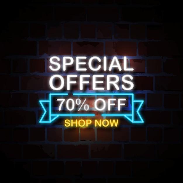 Speciale aanbiedingen 70% korting op neon stijl teken illustratie Premium Vector