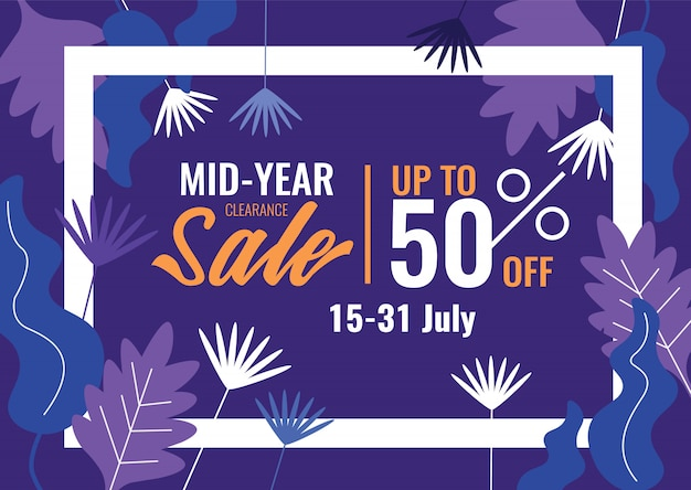 Speciale aanbiedingen en promotiebanner. mid year sale, summer sale. Premium Vector