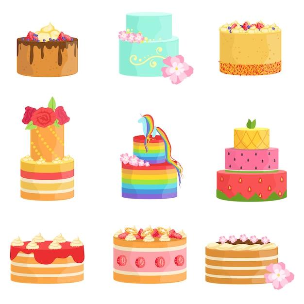 Speciale gelegenheid versierde taarten assortiment Premium Vector