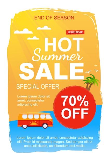 Speciale verkoopsjabloon voor hete zomerverkoop voor seizoeneinde. promotie flyer stelt 70 procent prijs af op busreizen Premium Vector