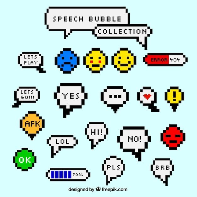Speech bubble verzamelen en korrelig smiley Gratis Vector