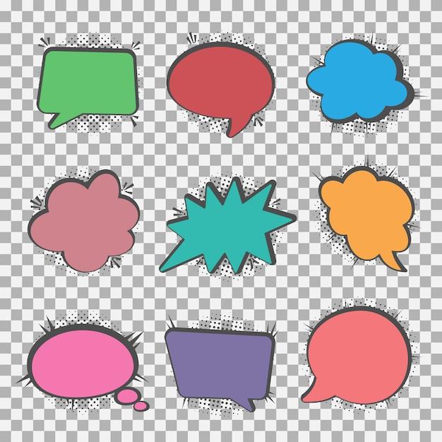 Speech bubbles set, halftone shadows Premium Vector