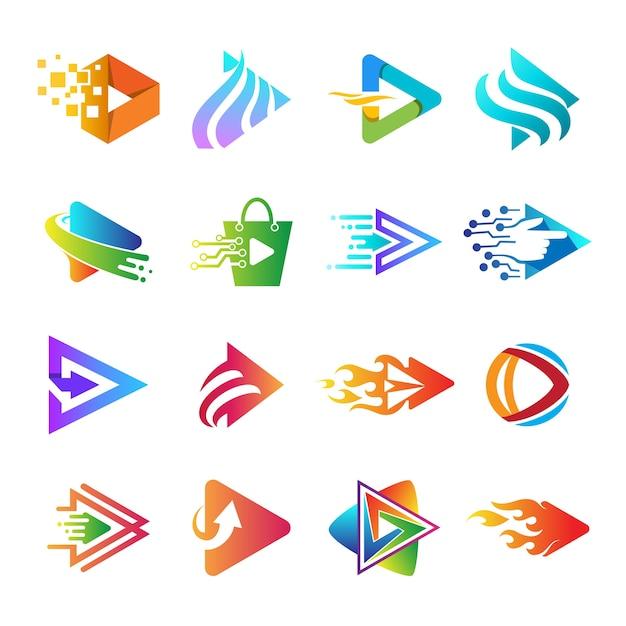 Speel app-logoverzameling, set van play-knop logo Premium Vector