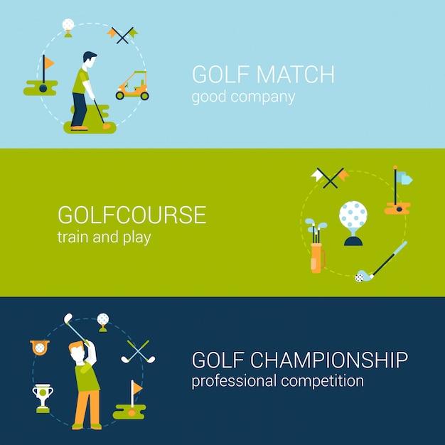 Speel golf sportclub natuurlijk professioneel kampioenschap en competitie concept platte ontwerp illustraties set. Premium Vector