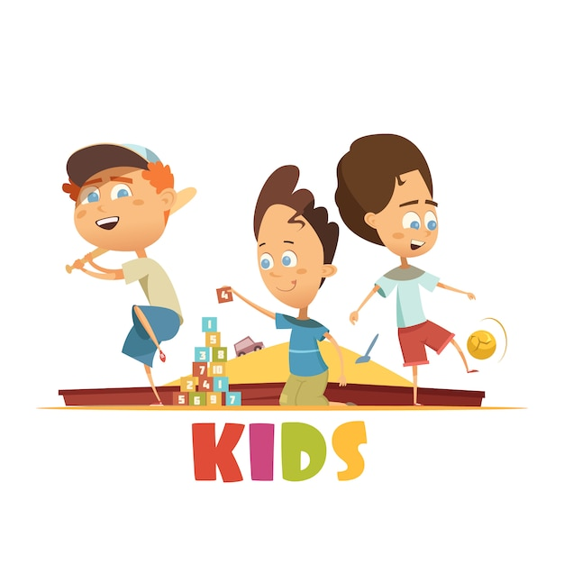 Speel kinderenconcept met honkbalbakstenen en het beeldverhaal vectorillustratie van voetbalsymbolen Gratis Vector