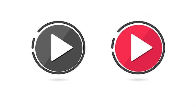 Speel knop icon set. Premium Vector