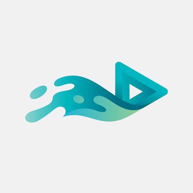 Speel knop logo ontwerp Premium Vector