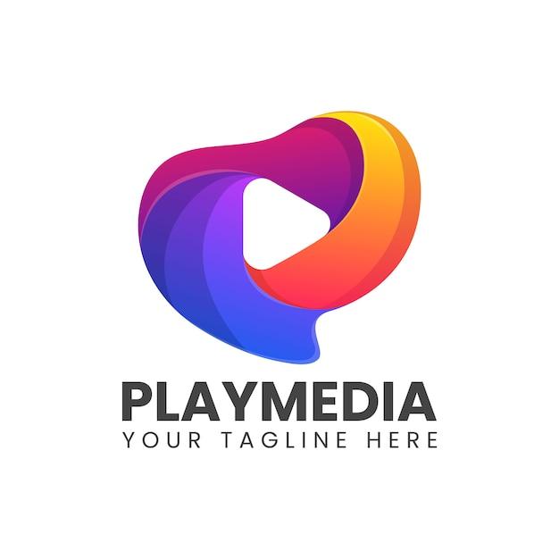 Speel media kleurrijk abstract embleem Premium Vector