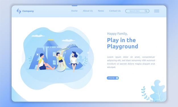 Speel met kinderen in de speeltuin op landingspagina-sjabloon Premium Vector