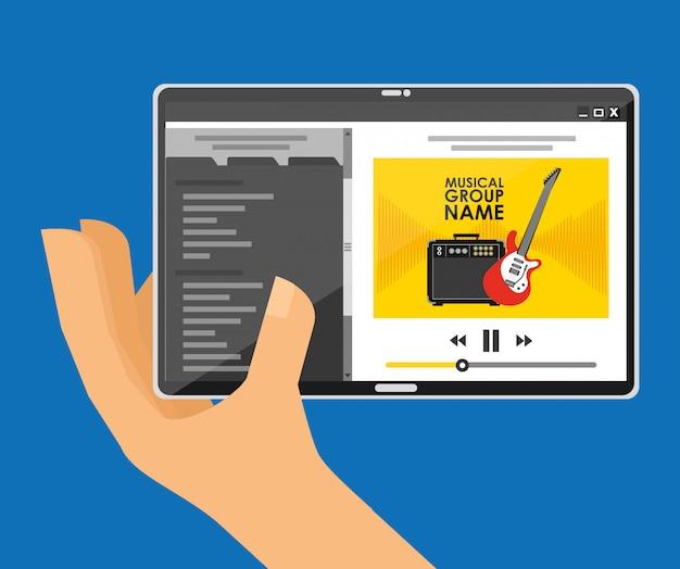 Speel muziek met tablet Gratis Vector