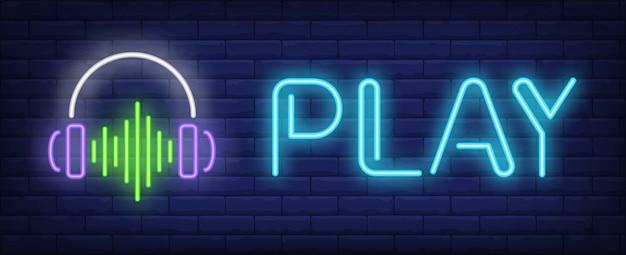 Speel neontekst met een koptelefoon en geluidsgolf Gratis Vector