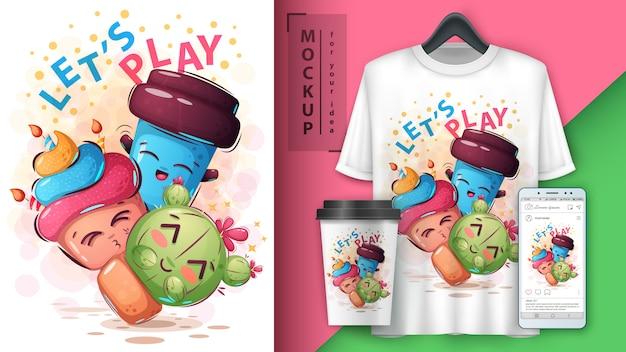 Speel stripfiguren poster en merchandising Premium Vector