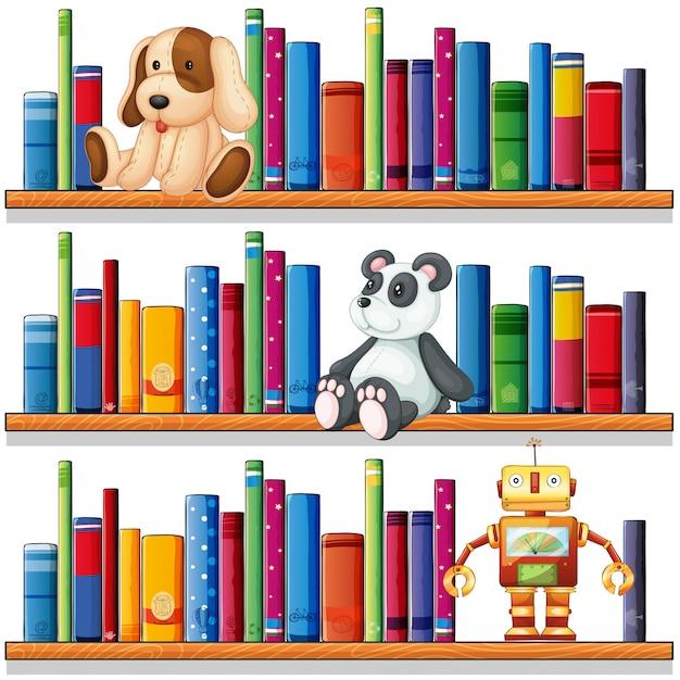Speelgoed en boeken op de planken Gratis Vector