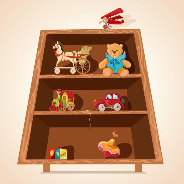 Speelgoed op planken wordt afgedrukt Gratis Vector