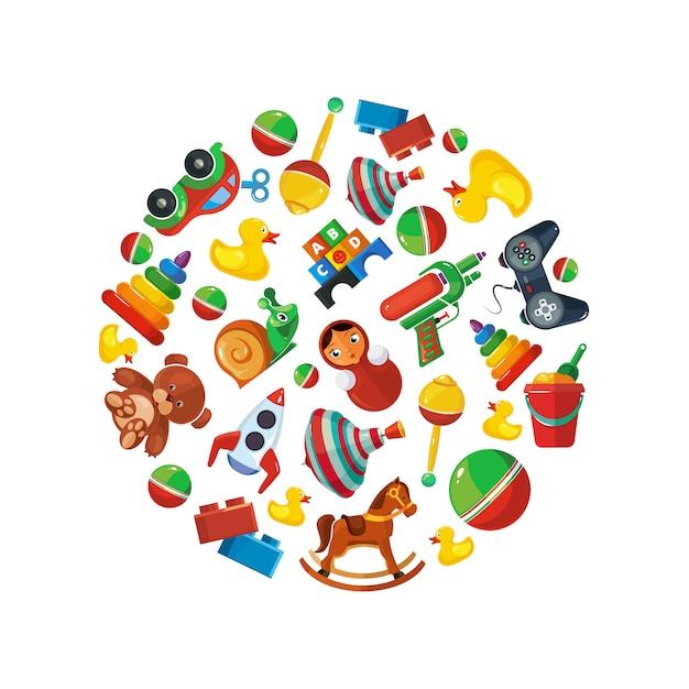 Speelgoed voor kinderen in cirkelvorm Premium Vector