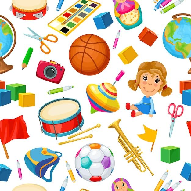 Speelgoed voor kinderen. naadloos patroon. Premium Vector