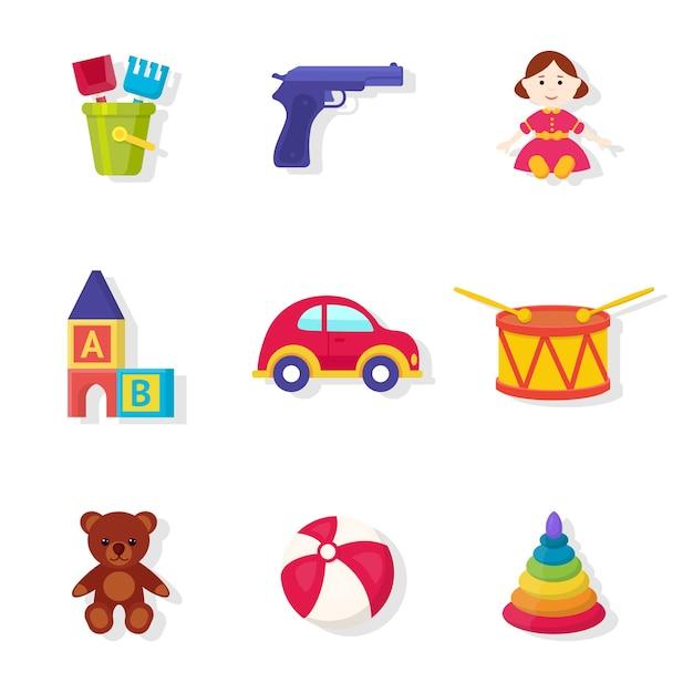 Speelgoedwinkel assortiment illustraties set. speelgoed voor meisjes en jongens cartoon cliparts collectie. leuk zacht pluche beer-element. educatieve kubussen en piramide voor peuters Premium Vector