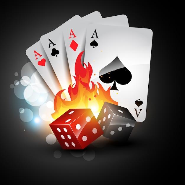 Speelkaart en dobbelstenen Gratis Vector