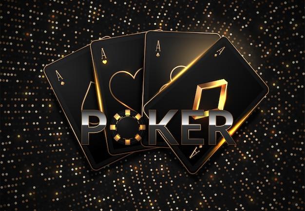 Speelkaarten en poker chips casino concept op donker Premium Vector