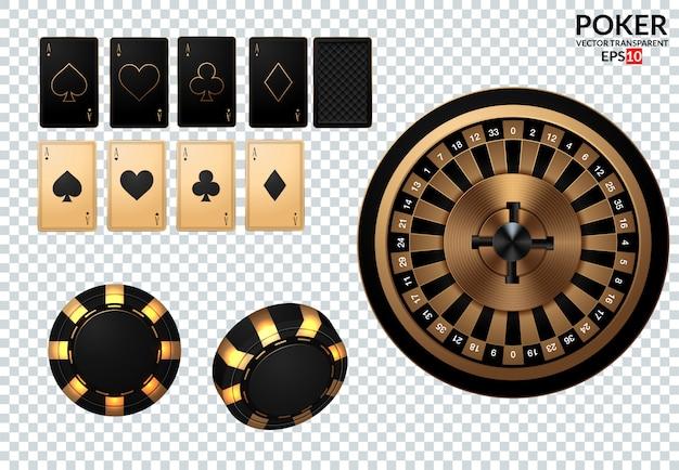 Speelkaarten en pokerchips vliegen naar het casino. Premium Vector