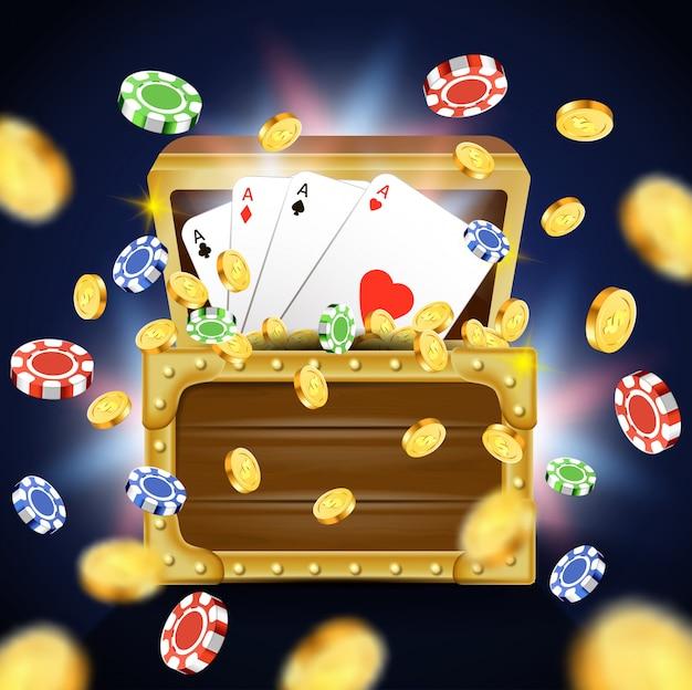 Speelkaarten met vier azen in houten kist. Premium Vector