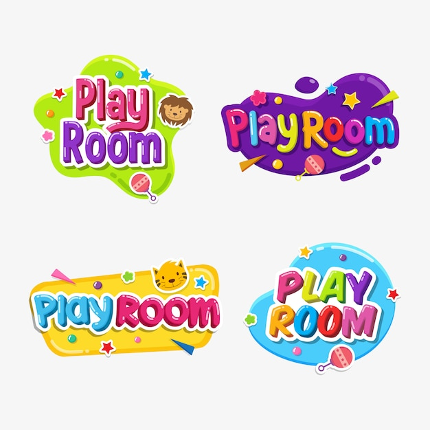 Speelkamer label tekst sticker kinderachtig insigne Premium Vector