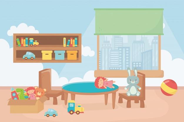 Speelkamer met planken dozen bal tafel stoel venster stad Premium Vector
