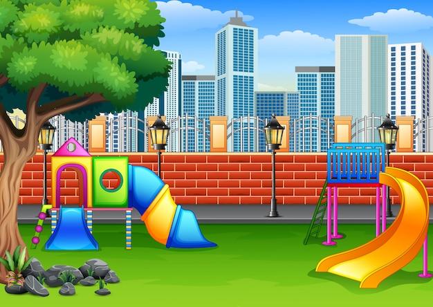 Speelplaats in de parkstad Premium Vector